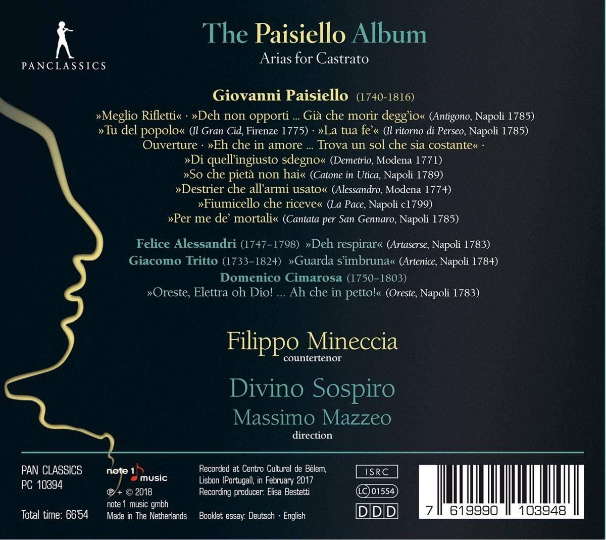CD, Mineccia, The Paisiello Album